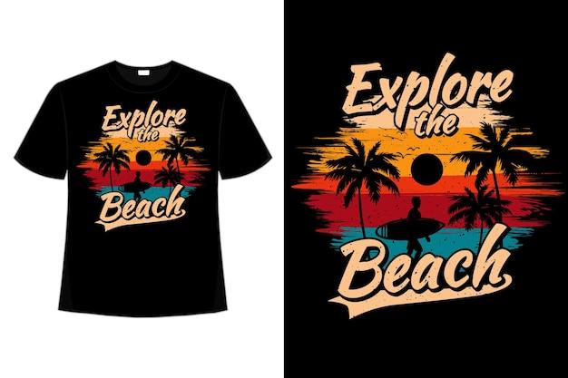 Projekt koszulki z eksploracji plaży surfowania palmy w stylu retro w stylu vintage