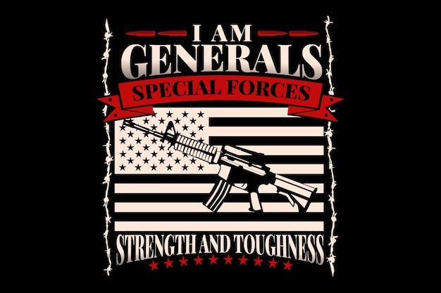 Projekt koszulki z flagą broni amerykańskich sił specjalnych vintage