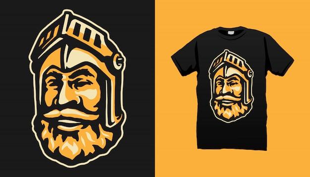 Projekt koszulki z głową rycerza