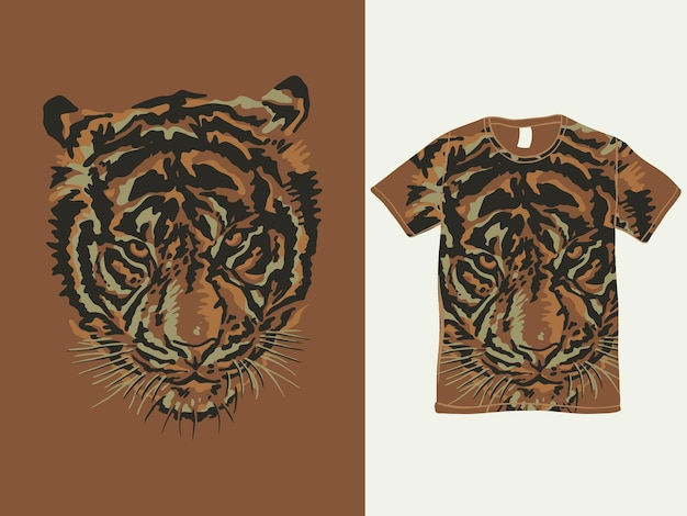Projekt koszulki z głową tygrysa w stylu vintage