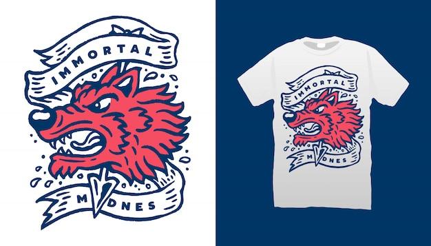Projekt koszulki z głową wilka