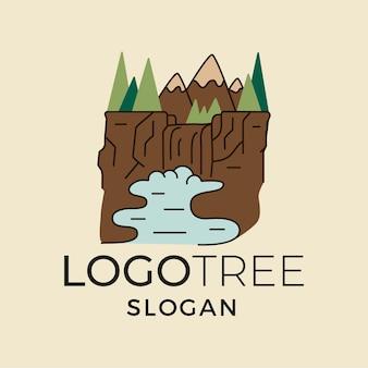 Projekt koszulki z górami z lasem i wodospadami