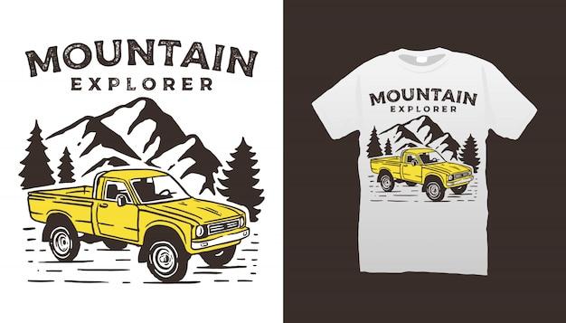 Projekt koszulki z ilustracją pojazdu terenowego i góry