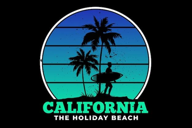 Projekt koszulki z kalifornijskiej plaży wakacje surf lato piękny w stylu retro