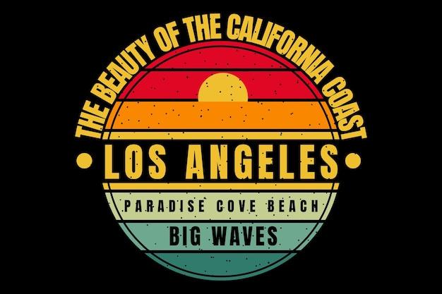 Projekt koszulki z kalifornijskim wybrzeżem fale zachód słońca w stylu retro
