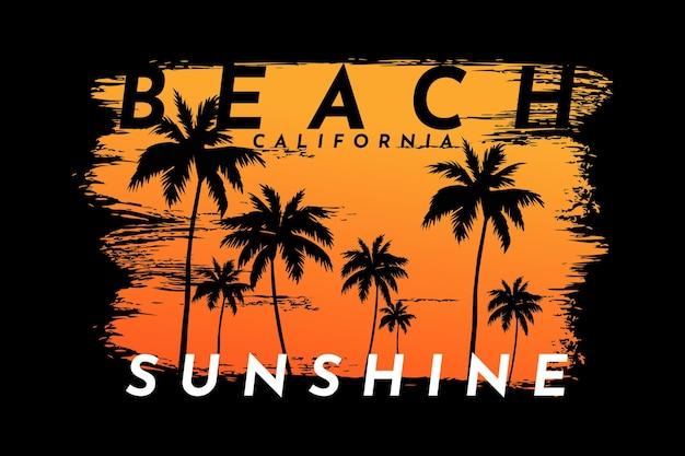 Projekt koszulki z kalifornijskim zachodem słońca piękny pędzel w stylu vintage