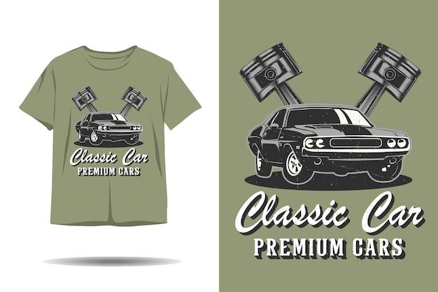 Projekt koszulki z klasycznymi samochodami premium z sylwetką samochodu