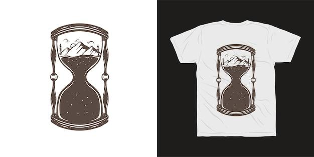 Projekt koszulki z klepsydrą górska przygoda