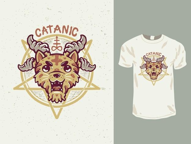 Projekt koszulki z kreskówkowym kotem satanistycznym