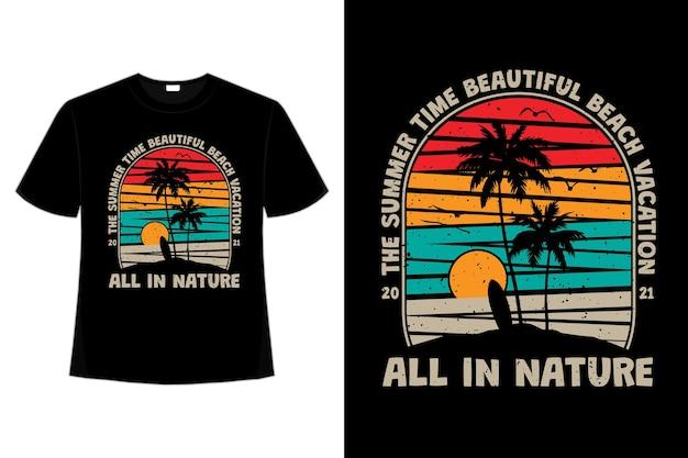 Projekt koszulki z latem piękna plaża wakacje natura vintage w stylu retro