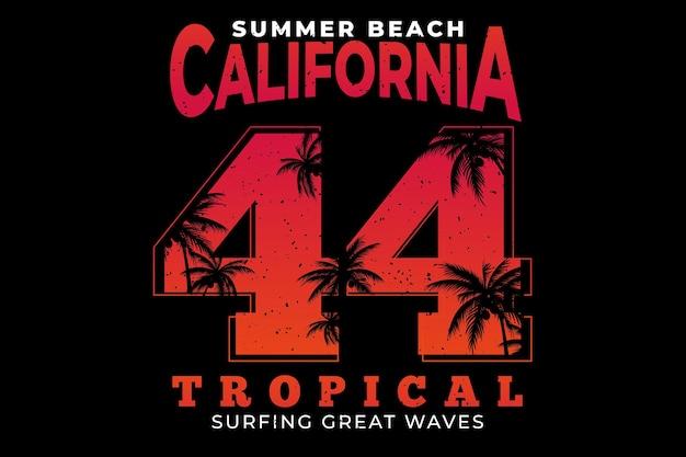 Projekt koszulki z letnią plażą w kalifornii tropikalnym surfowaniem w stylu vintage