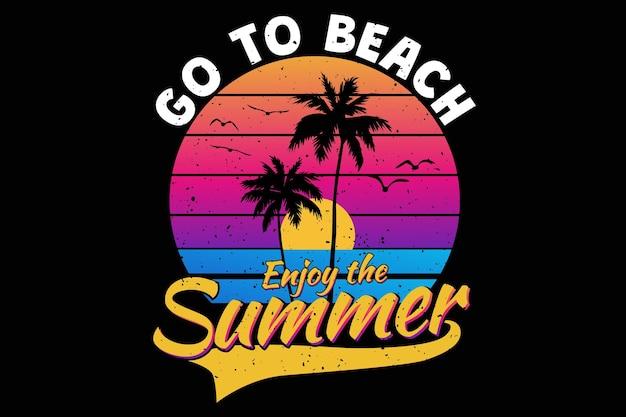 Projekt koszulki z letnim zachodem słońca na plaży w stylu retro vintage
