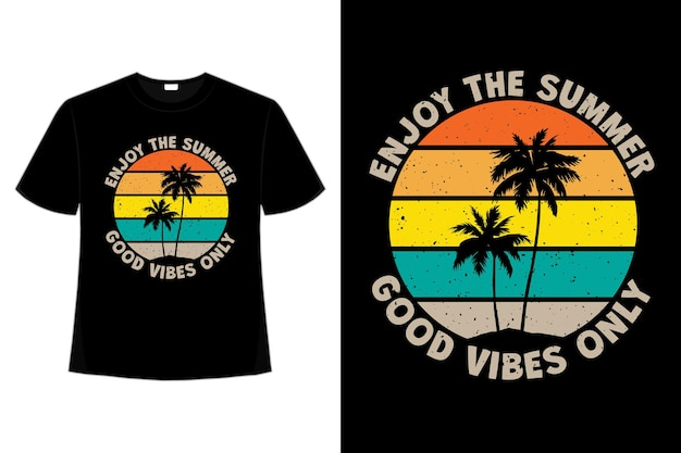 Projekt koszulki z letnimi dobrymi wibracjami w stylu retro