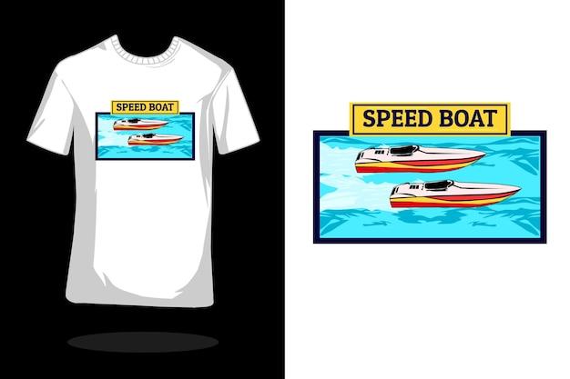Projekt koszulki z liniową łodzią motorową