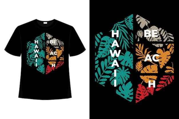 Projekt koszulki z liści plaży hawaje retro vintage line illustration