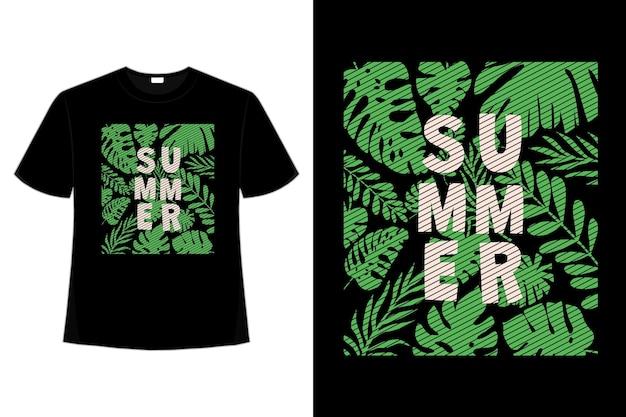 Projekt koszulki z liścia letniej zieleni w stylu retro