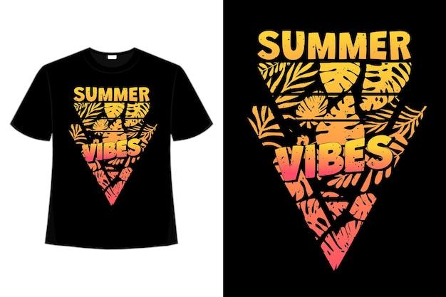 Projekt koszulki z liściem rajskich wibracji w stylu retro