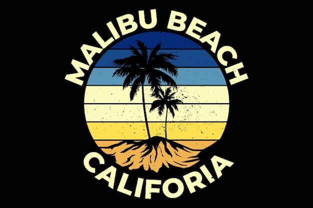 Projekt koszulki z malibu beach california summer w stylu retro vintage