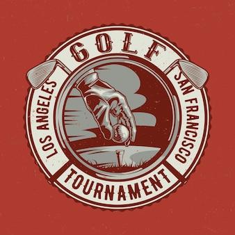 Projekt koszulki z motywem golfa z ilustracją przedstawiającą rękę gracza, piłkę i dwa kije golfowe
