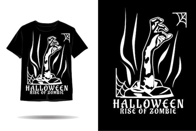 Projekt koszulki z motywem halloweenowej sylwetki zombie