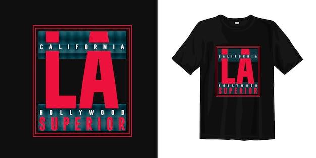 Projekt koszulki z nadrukiem california hollywood, los angeles fashion