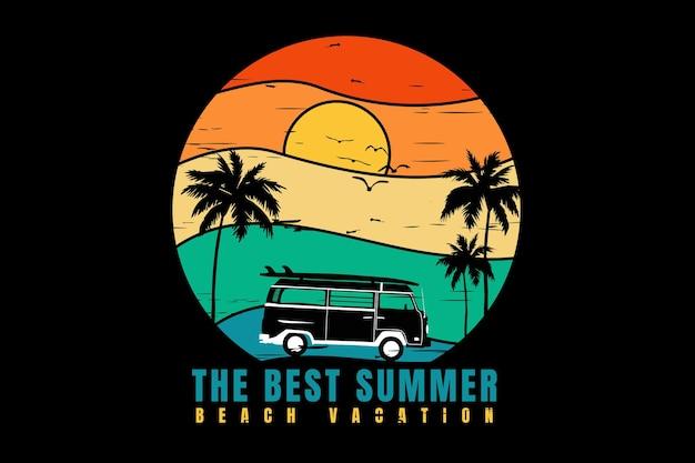 Projekt koszulki z najlepszymi letnimi wakacjami na plaży w sylwetce retro