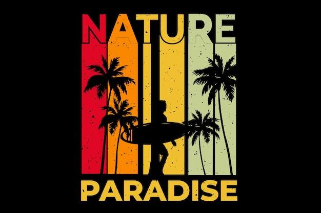 Projekt koszulki z naturalnym rajem surfowania o zachodzie słońca w stylu retro vintage