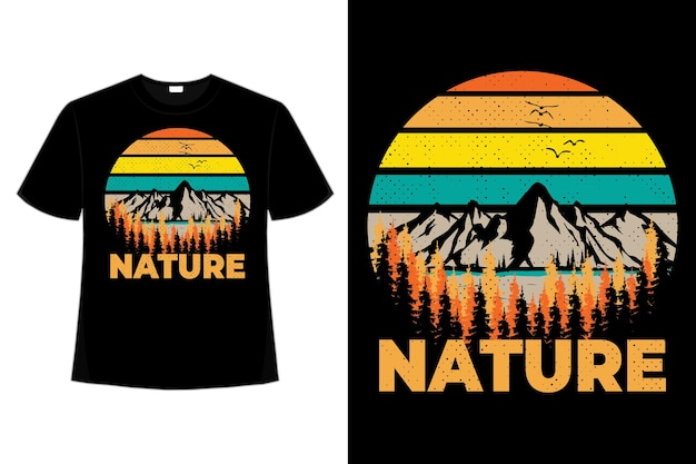 Projekt koszulki z natury sosna górska ilustracja w stylu retro vintage