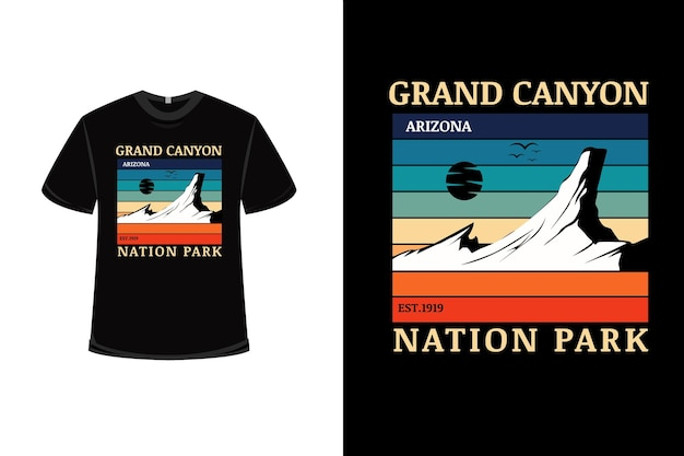 Projekt koszulki z parkiem narodowym wielkiego kanionu arizona w kolorze pomarańczowo-zielonym i niebieskim