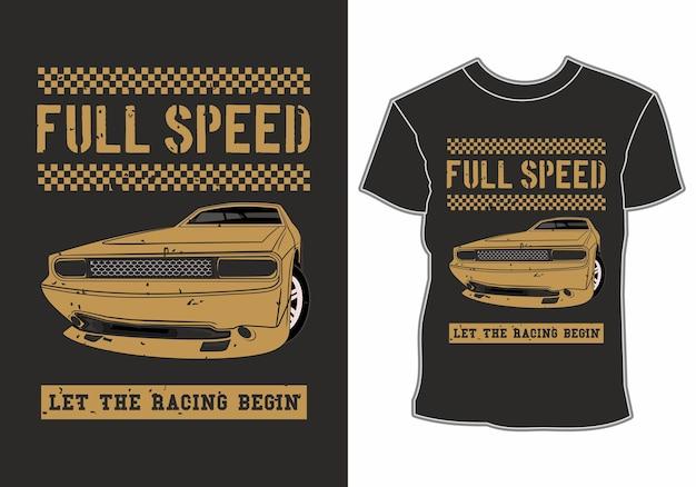 Projekt koszulki z pełną prędkością samochodu