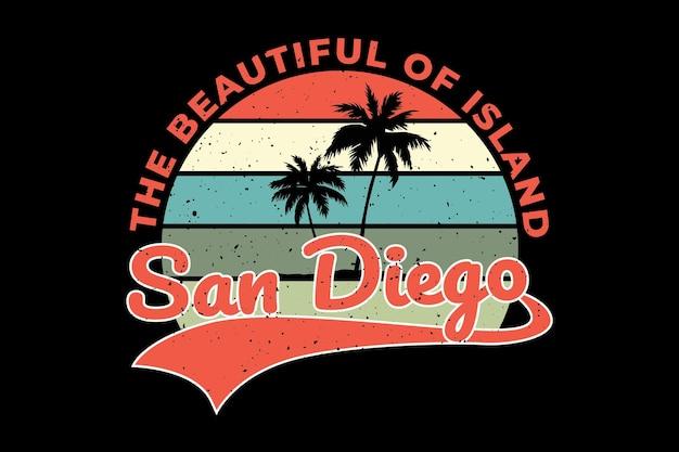 Projekt koszulki z piękną wyspą san diego w stylu retro