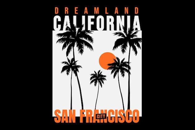 Projekt koszulki z plażą san francisco california w stylu vintage w stylu sunshine
