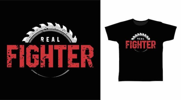 Projekt koszulki z prawdziwym wojownikiem typografii