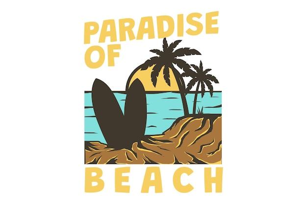 Projekt koszulki z rajską plażą morze surfować zachód słońca w stylu retro vintage ręcznie rysowane