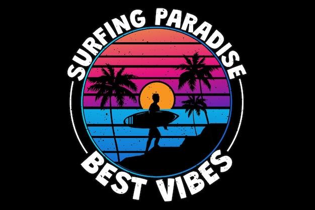 Projekt koszulki z surfingowymi klimatami rajskiej plaży w stylu retro vintage sunset