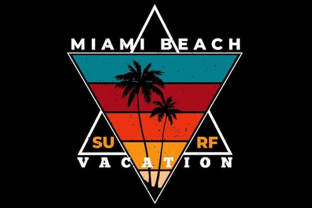 Projekt koszulki z surfowaniem na plaży miami w stylu retro