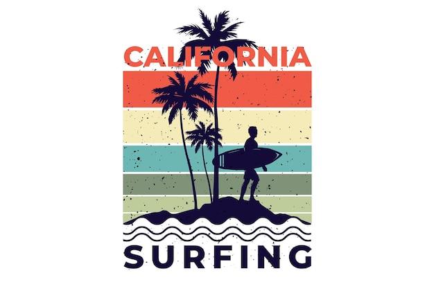 Projekt koszulki z surfowaniem w kalifornii w stylu retro vintage