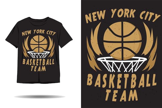 Projekt koszulki z sylwetką drużyny koszykówki