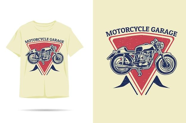 Projekt koszulki z sylwetką garażu motocyklowego