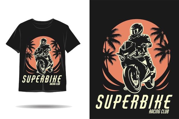 Projekt koszulki z sylwetką klubu super bike racing