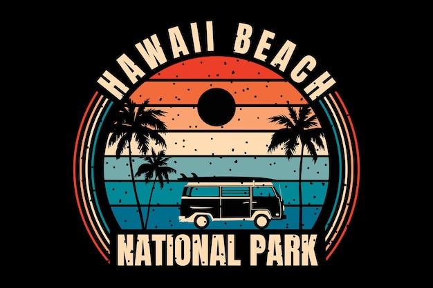 Projekt koszulki z sylwetką narodowy zachód słońca na plaży hawaii w stylu retro