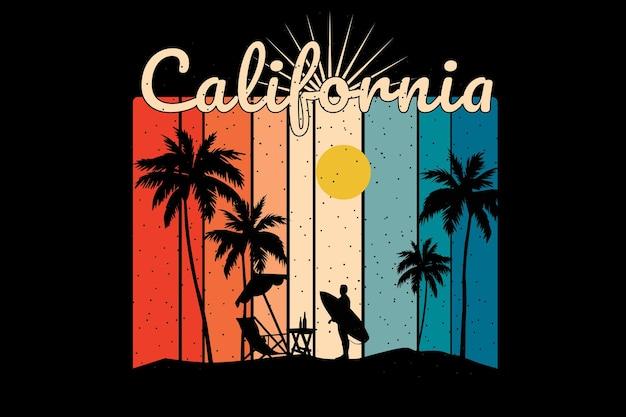 Projekt koszulki z sylwetką plaża zachód słońca w kalifornii w stylu retro