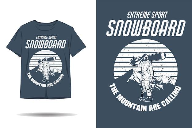 Projekt koszulki z sylwetką snowboardu w sportach ekstremalnych
