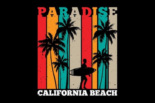 Projekt koszulki z sylwetką surfowania rajskiej palmowej plaży w kalifornii w stylu retro