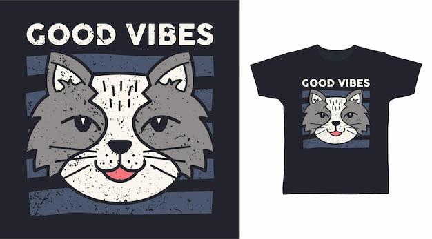Projekt koszulki z szarym kotem w dobrym nastroju