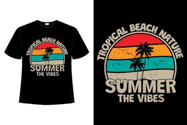 Projekt koszulki z tropikalną naturą, letnimi wibracjami w stylu retro