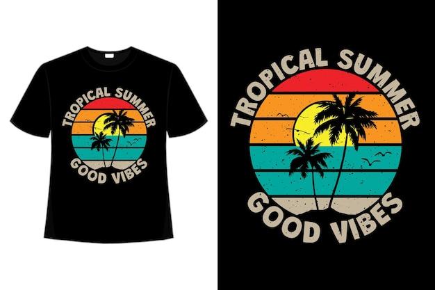 Projekt koszulki z tropikalnym letnim klimatem zachodu słońca w stylu retro