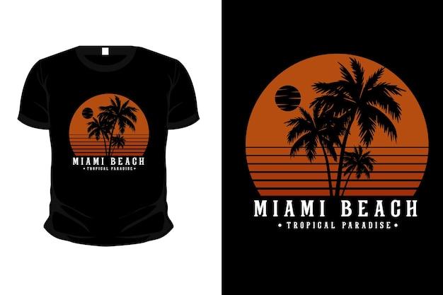 Projekt koszulki z tropikalnym rajem w miami beach
