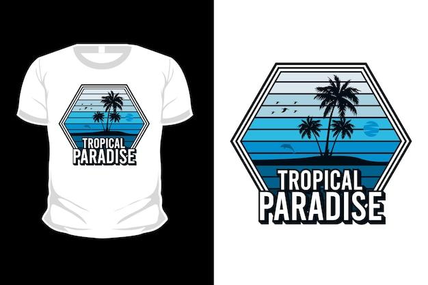 Projekt koszulki z tropikalnym rajem