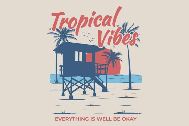 Projekt koszulki z tropikalnymi wibracjami plaża ręcznie rysowane stylu vintage ilustracji